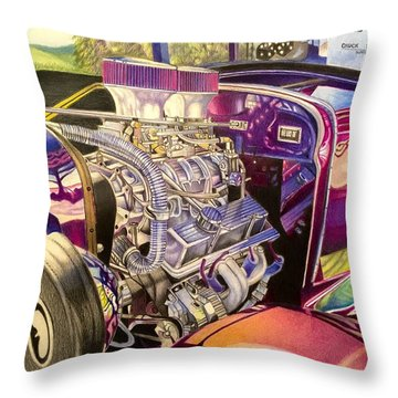 Supercharged Antique 1931 Ford Coupe  Throw Pillow