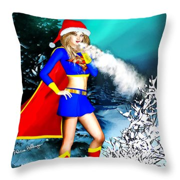 Supergirl Holiday Greeting Card Throw Pillow