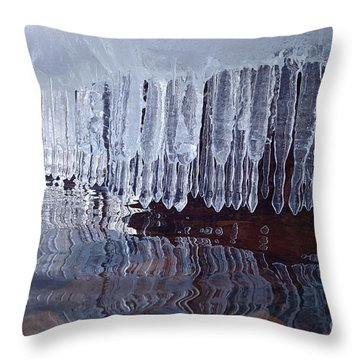 Throw Pillow featuring the photograph Superior April Ice by Sandra Updyke