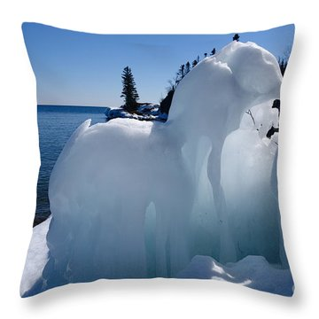 Throw Pillow featuring the photograph Superior Ice Elephants by Sandra Updyke