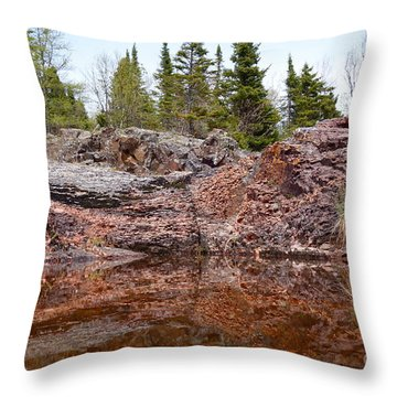 Throw Pillow featuring the photograph Superior Rock Reflections #2 by Sandra Updyke