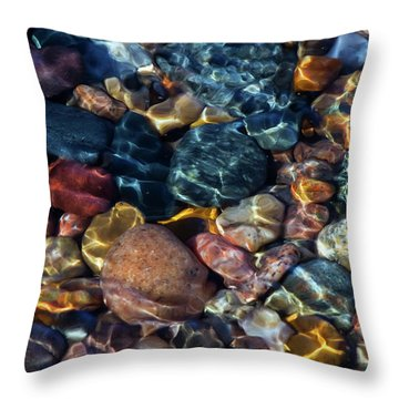 Throw Pillow featuring the photograph Superior Rocks 1 by Heather Kenward