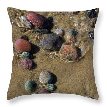 Throw Pillow featuring the photograph Superior Rocks 2 by Heather Kenward