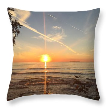 Throw Pillow featuring the photograph Superior Sunset by Paula Brown