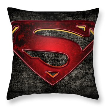 Superman Logo Digital Artwork Throw Pillow