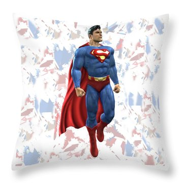 Throw Pillow featuring the mixed media Superman Splash Super Hero Series by Movie Poster Prints
