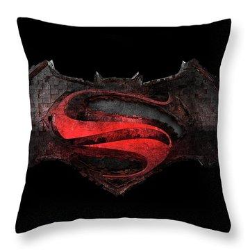 Throw Pillow featuring the photograph Superman Vs Batman by Louis Ferreira
