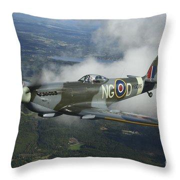 Supermarine Spitfire Mk.xvi Fighter Throw Pillow by Daniel Karlsson