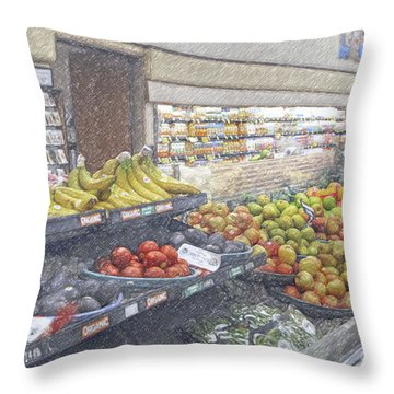 Throw Pillow featuring the photograph Supermarket Produce Section by David Zanzinger