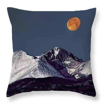Supermoon Lunar Eclipse Over Longs Peak Throw Pillow