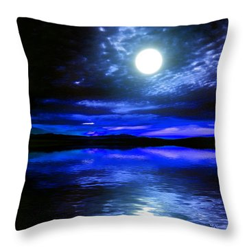 Supermoon Over Lake 2 Throw Pillow