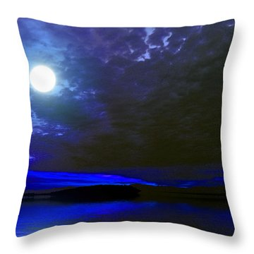 Supermoon Over Lake Throw Pillow
