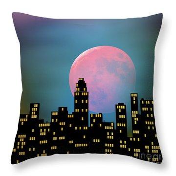Supermoon Over The City Throw Pillow