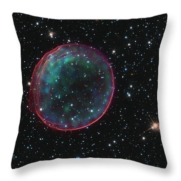 Supernova Bubble Resembles Holiday Ornament Throw Pillow