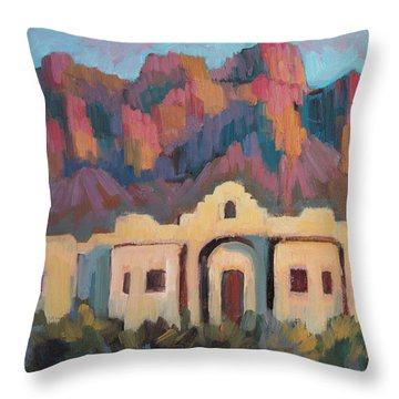 Throw Pillow featuring the painting Superstition Mountain Evening by Diane McClary