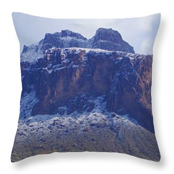 Superstition Mountain Snowfall Throw Pillow