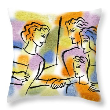 Throw Pillow featuring the painting Support And Family Assistance by Leon Zernitsky