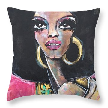 Throw Pillow featuring the painting Supreme Love For Diana Ross by Laurie Maves ART