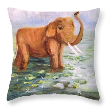 Throw Pillow featuring the painting Suraj The Champion - Limited Edition Prints 1-75 by Donna Dixon