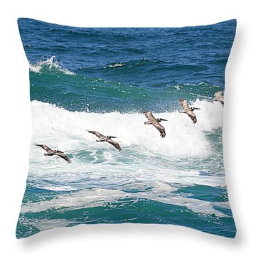 Surf And Pelicans Throw Pillow