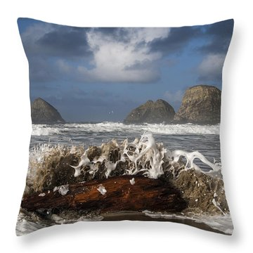 Surf And Three Arch Rocks Throw Pillow