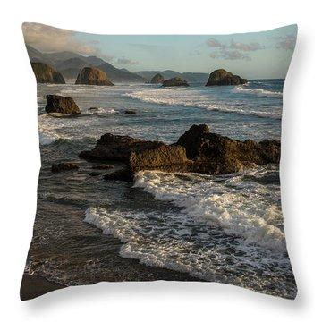 Surf At Crescent Beach Throw Pillow