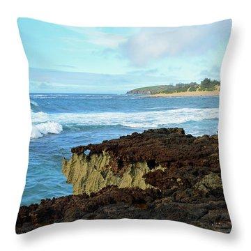 Surf At Mahaulepu Beach Hawaii Throw Pillow