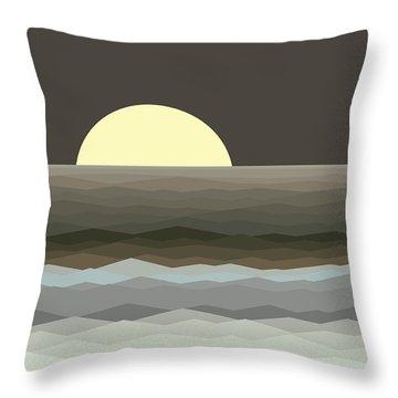 Surf At Moonrise Throw Pillow