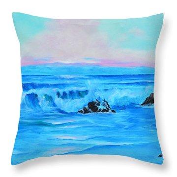 Surf At Sunset  Throw Pillow