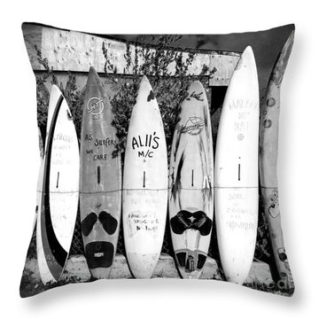 Throw Pillow featuring the photograph Surf Board Fence Maui Hawaii Square Format by Edward Fielding