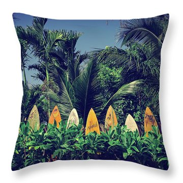 Throw Pillow featuring the photograph Surf Board Fence Maui Hawaii Vintage by Edward Fielding