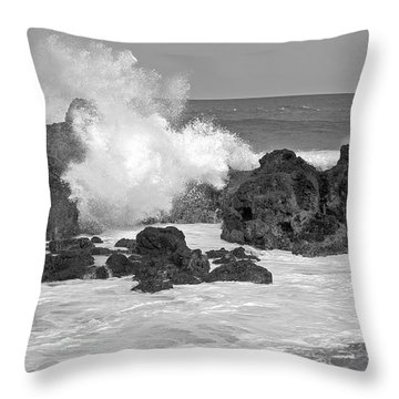 Surf Breaking On The Rocks Throw Pillow