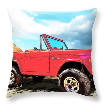 Surf Bronco Beyond The 4 Wheel Drive Only Sign Padre Island Throw Pillow