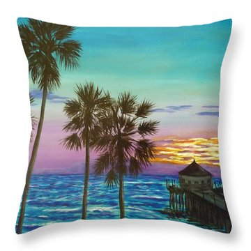 Surf City Sunset Throw Pillow