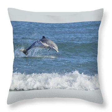 Surf Dolphin Throw Pillow