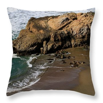 Surf Fishing At Ocean Beach Throw Pillow