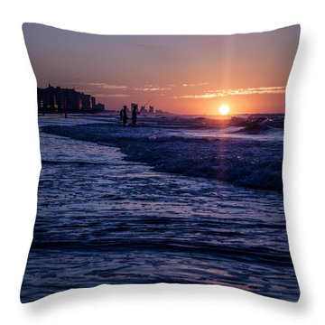 Surf Fishing At Sunrise Throw Pillow