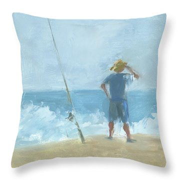 Surf Fishing Throw Pillow