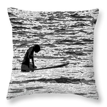Throw Pillow featuring the digital art Surf Meditation by Suzette Kallen