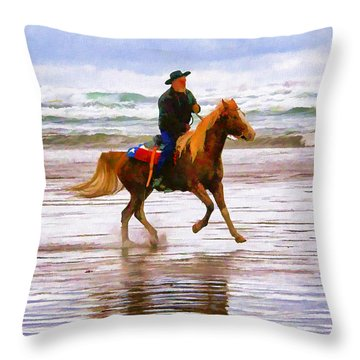 Throw Pillow featuring the photograph Surf Rider by Wendy McKennon
