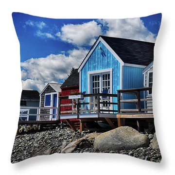 Surf Shacks Throw Pillow by Tricia Marchlik