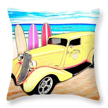 Surf Shop Sedan Delivery Rod Padre Island Throw Pillow