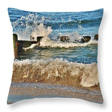 Surf Stir - Jersey Shore Throw Pillow by Angie Tirado