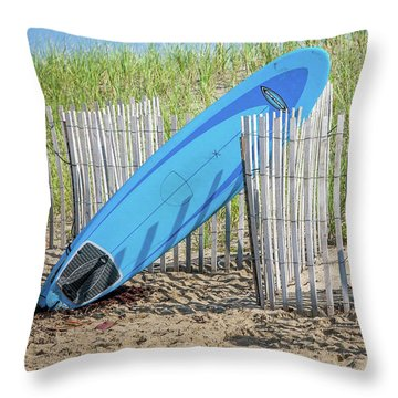 Throw Pillow featuring the photograph Surfboard And Sandals by Art Block Collections