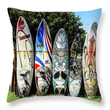 Surfboard Hana Maui Hawaii Throw Pillow
