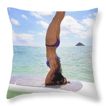 Surfboard Headstand Throw Pillow by Tomas del Amo - Printscapes