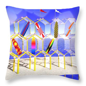 Surfboard Palace Throw Pillow