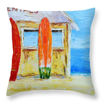 Surf Board Rental Shack At The Beach - Modern Impressionist Palette Knife Work Throw Pillow