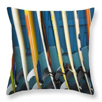Surfboards Throw Pillow by Dana Edmunds - Printscapes