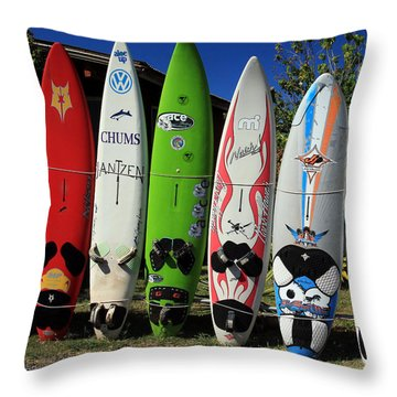 Surfboards Throw Pillow by John Bushnell